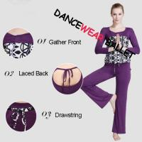 Buy cheap Slim Printing Laced Back Long Sleeve Dance Wear Top And Pants from wholesalers
