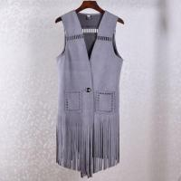 Summer Coat High-end European Hollow Suede Fringed Long Cardigan Vest Women Waistcoat Female