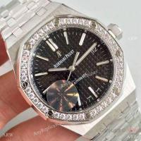 Buy cheap Knockoff Audemars Piguet Royal Oak 3120 Stainless Steel Black Face Diamond Bezel Gift Watch from wholesalers