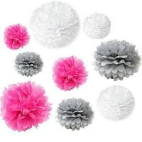 Buy cheap Mixed White, Grey, Fuchsia Hot Pink Tissue Pom Poms Paper from wholesalers