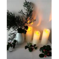 China Dancing Flame Wax Pillar LED Candle Set of 3, Ivory on sale