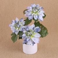Buy cheap 28cm Three Flower Heads Artificial Dahlia In White Ceramic Pot + Artificial Chrysanthemum from wholesalers