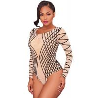 Buy cheap Nude Mesh Black Stripes Bodysuit from wholesalers