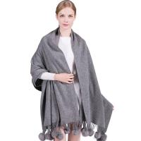 Buy cheap Top selling elegent winter wear women shawls with fur balls solid color wool pashmina scarf from wholesalers