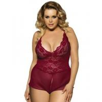 Buy cheap Plus Size Lingerie Wine Red Halter Lace Plus Size Teddy Lingerie from wholesalers