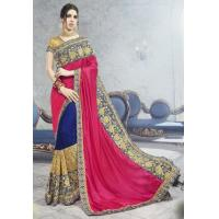 Buy cheap Wedding Wear Half N Half Art Silk Saree in Fuchsia and Royal Blue from wholesalers