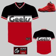 Buy cheap CLEARANCE GEEKS Reds V-Neck Baseball Jersey to match Jordan 5 Red Suede from wholesalers