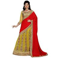 terrific women red embroidered jacquard saree with un-stitched blouse