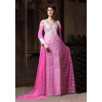 Buy cheap Designer Suits blissta pink net long partywear gown from wholesalers