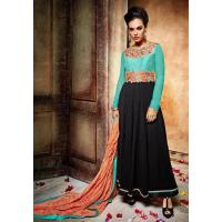 Buy cheap satrani wedding black & sea green embroidered georgette semi-stitched salwar kameez with dupatta from wholesalers