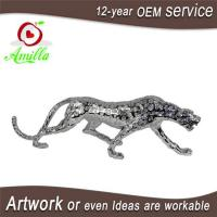 Buy cheap Silver Polyresin Figurine Leopard Ornament and Panther Sculpture Home Decorations product
