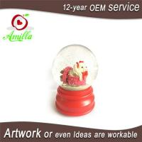 Buy cheap 100mm Red Resin Dog Water Ball Figurines With Snow Flakes Music Function from wholesalers