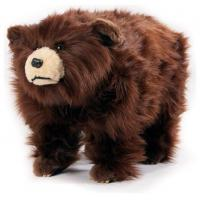 Plush Shaggy Brown Grizzly Bear Footstool