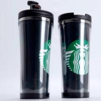 Double layer coffee travel mug with stainless steel insert