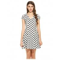Buy cheap Dresses White New Women Casual V-Neck Cap Sleeve Dot Pleated A-Line Dress Model: ww0a0040 from wholesalers