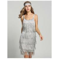 Gray 1920s Straps Tassels Glam Gatsby Fringe Flapper Belted Party Dresses Model: ww0a0019