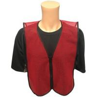 Buy cheap Dark Red Open Mesh Plain Safety Vest with ZIPPER FRONT Small Size product