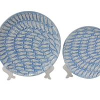 Leisure Bags Global views blue ceramic fish plate
