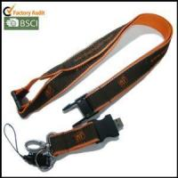 Buy cheap USB Woven-logo Satin Lanyards with Reflective String on Both Edges product