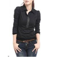 Buy cheap Women's Slim Roll Collar Long Sleeve Single Breasted Embroidered Cotton Blouse from wholesalers