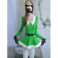 2013 New Fair Lady Slim Big Lower Hem Green Vivi Vollar Cute Puff Sleeve Shirt|Blouse