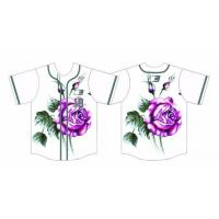 Buy cheap 2017 Custom Dry Fit 260gsm Interlock Fabric Baseball Jersey Rose Logo Jerseys from wholesalers