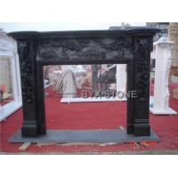 Buy cheap Black Marble Freestanding Fireplace Mantel Stone Surrounds with Elphant Sculpture Ideas from wholesalers