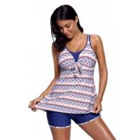 Aztec Print Bow Tie Detail Tankini and Shorts LC410330