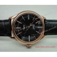 Buy cheap Rolex Watches Replica Rolex Cellini Rose Gold Black Face Leather Band Watch from wholesalers