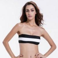 Buy cheap 2016 Bikini Top Black White Stripe Bandeau Bikini Top from wholesalers