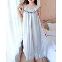 Buy cheap Short sleeve long night dress pure ice silk pajamas for women from wholesalers