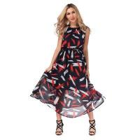 Buy cheap Trendy Sleeveless Round Neck Print Tied Chiffon Women Dress from wholesalers