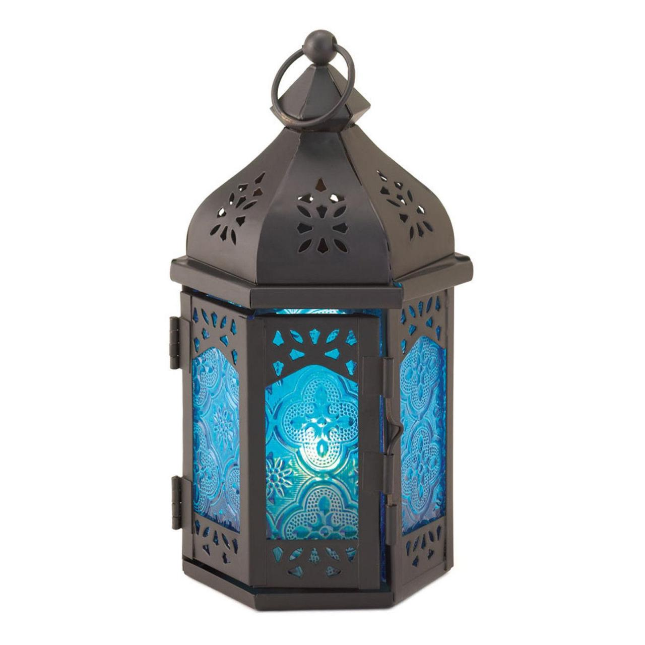 China Rosette Blue Glass Moroccan Style Black Metal Candle Lantern on sale