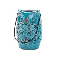 Buy cheap Candle Lanterns Distressed Blue Punched Ceramic Candle Lantern light lamp luminary from wholesalers