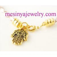 Buy cheap Fashion Jewelry White leather braided cord bracelet, Gold plated hamsa hand charm bracelet from wholesalers