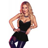 Buy cheap Clubwear Tops Black Charming V Neck Flare Clubwear Top from wholesalers