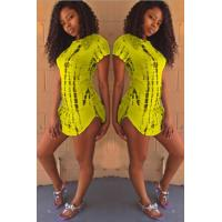 Buy cheap Club Dresses Yellow Tie Dye Slit Casual Dress from wholesalers