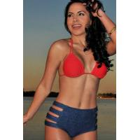Buy cheap Big Sale Red and Jeans Blue High-waisted Bikini Swimsuit from wholesalers