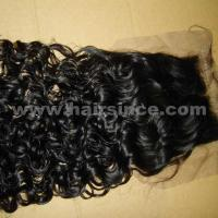 Buy cheap 100% human virgin hair natural black color silk top curly style 4X4 from wholesalers