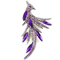 China Amethyst Purple Crystal and Gunmetal Peacock Fire Bird Brooch(Code:BR2279) on sale