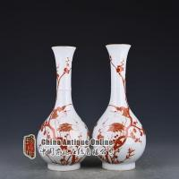 Buy cheap Qing Dynasty Qianlong alum red decripted with cranes Spring bottle ( one pair) from wholesalers