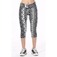 Sell Well New Women Black And White Tiny Flowers Fashion Elastic Popular Stretch Capri Leggings