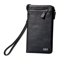 Buy cheap Men's Leather Credit Card Holder Money Clip Zippered Pocket from wholesalers