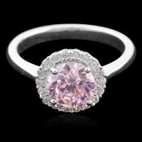 Buy cheap RS13001 Rhodium Plated Sterling Silver Prong Setting Pink CZ Diamond Ring from wholesalers