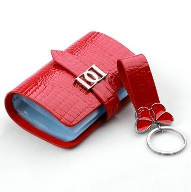 Luxury red cow leather keychains high end keyring gifts for High end gifts for women
