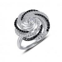 Buy cheap Swirl Ring with White and Black Diamonds from wholesalers