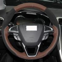 Buy cheap Palm Red Genuine Leather Black Suede Car Steering Wheel Cover for 2013 Ford Mondeo EDGE 2015 2016 from wholesalers