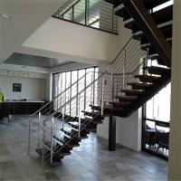 Buy cheap High quality U shape with stainless steel railing steel wood stair design PR-L05 from wholesalers