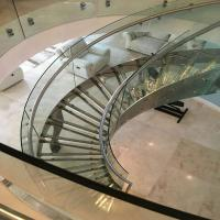 Interior Steel Glass Curved Staircase Design For Commerical Project PR-C09