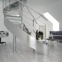 Apartment Stainless Steel Balustrade Laminated Glass Steps Curved Staircase PR-C26